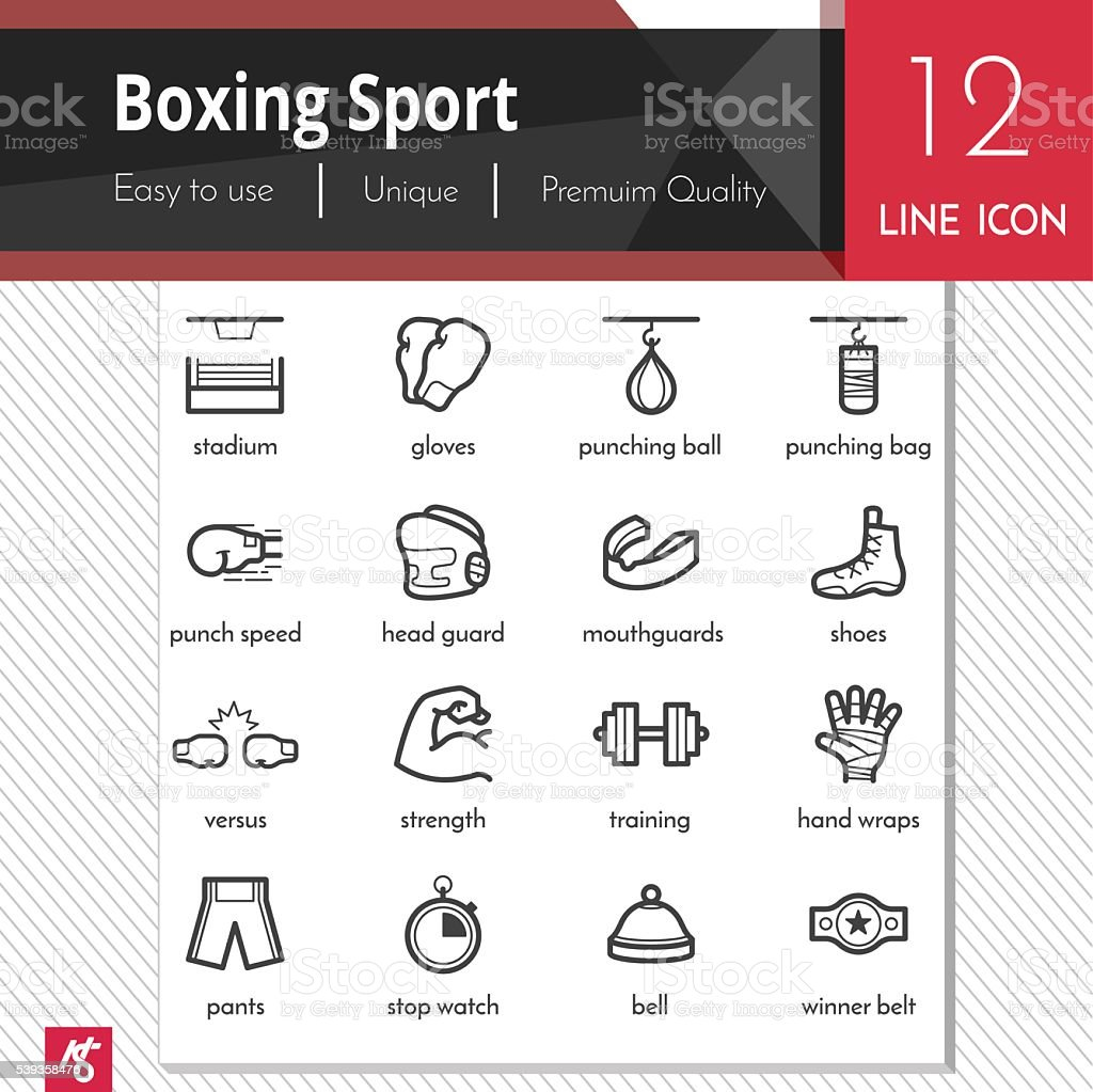 Boxing sport elements vector black icons set on white background. vector art illustration