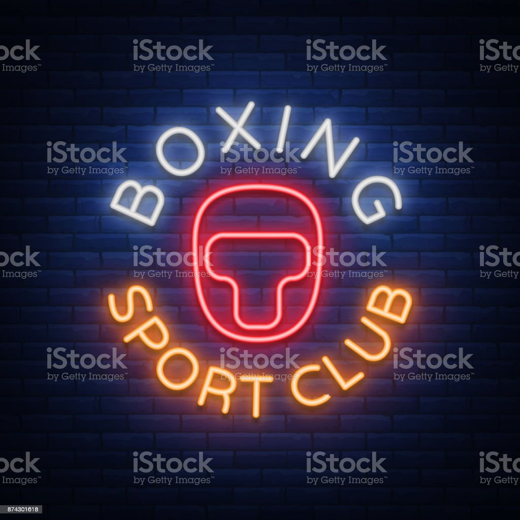 Boxing Sports Club Icon Sign In Neon Style Vector Illustration