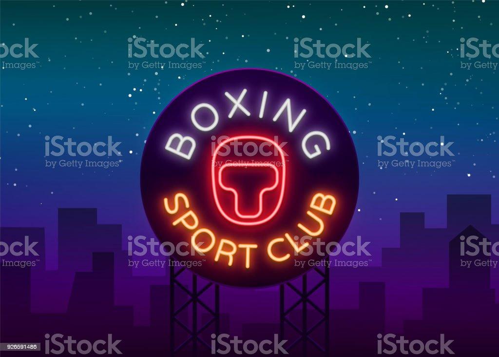 Box Sport Club Logo Zeichen In Neonstil Vektorillustration Emblem ...