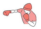 Boxing vector illustration. Boxer, line drawing. hand drawn. vector illustration.