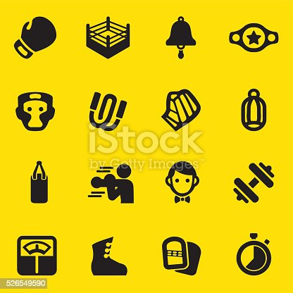 Boxing Yellow Silhouette Icons