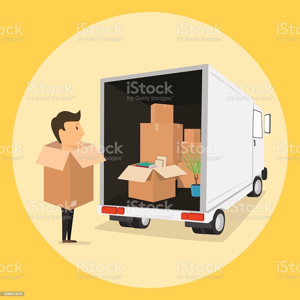 Boxman En Movimiento Con Cajas Actividades En La Caja Transporte ...