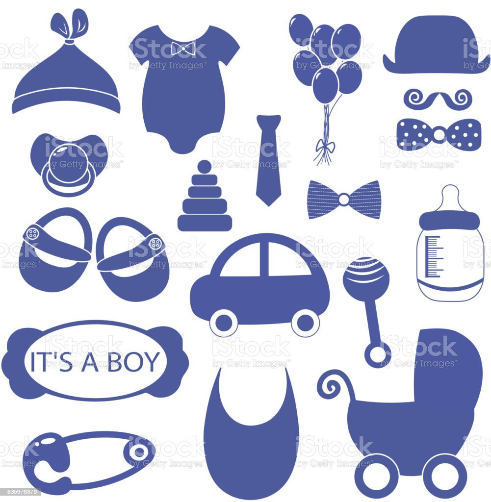 Boy 18 Objects Clip Art Set Newborn Essentials Shopping List Stuff