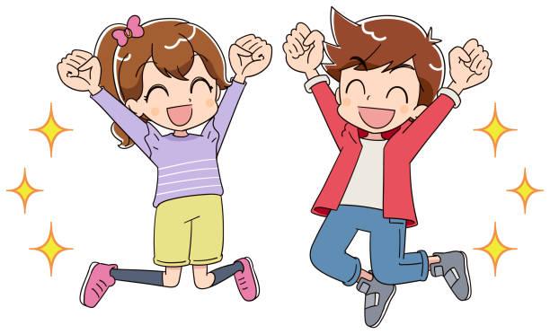 少年と少女が喜びでジャンプします。彼らは拳を推進しています。 - 漫画の子供たち点のイラスト素材/クリップアート素材/マンガ素材/アイコン素材