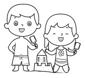 Vector Boy and a girl building, making sand castle on the beach