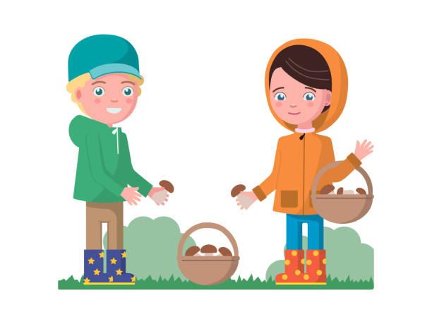 bildbanksillustrationer, clip art samt tecknat material och ikoner med pojke och en flicka som samlar svamp i en korg - höst plocka svamp