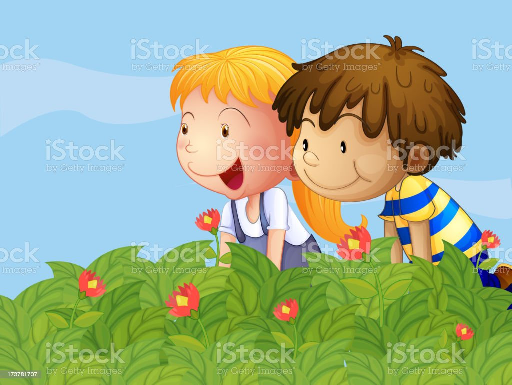 boy and a girl in the garden vector art illustration