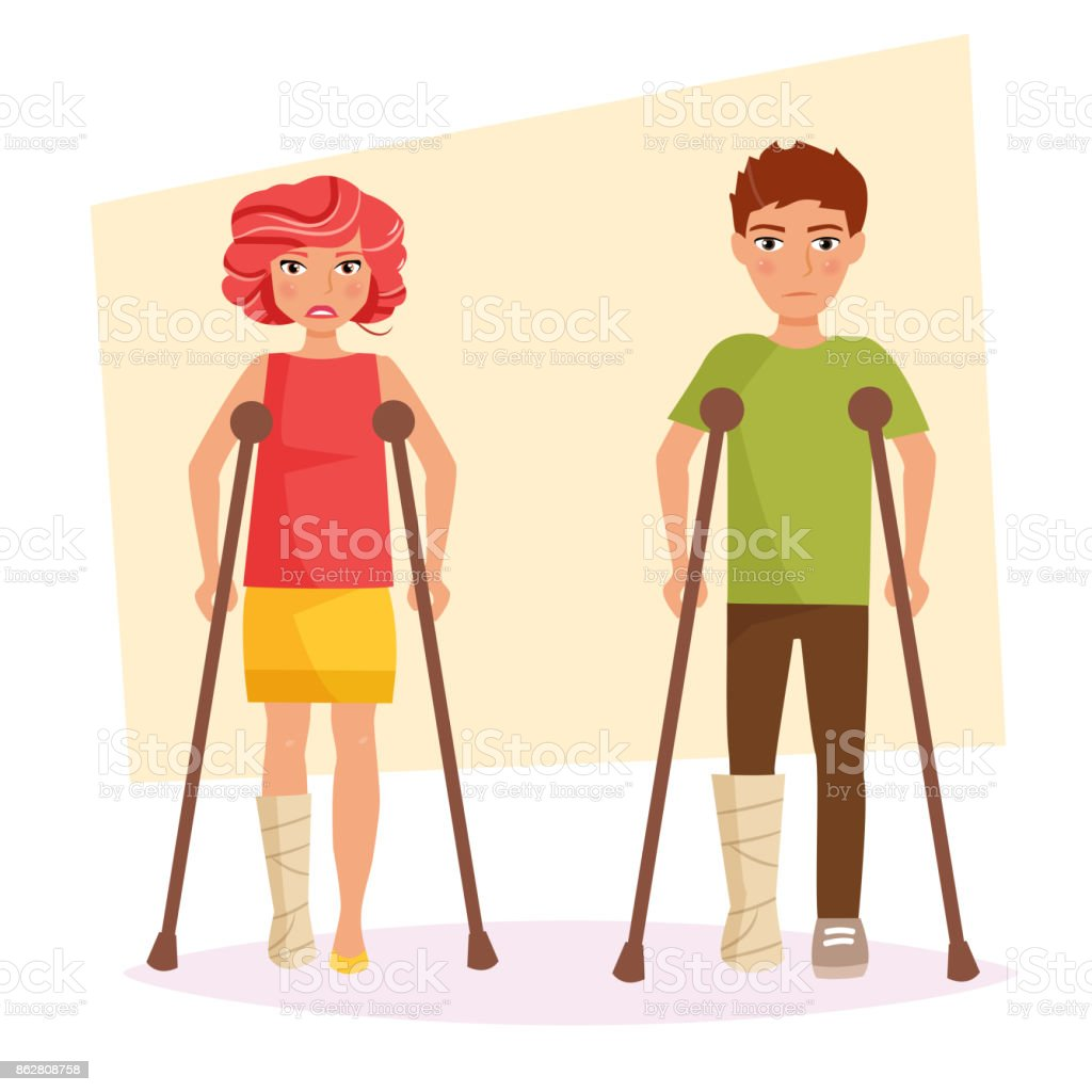 Boy and a girl with a broken legs vector art illustration
