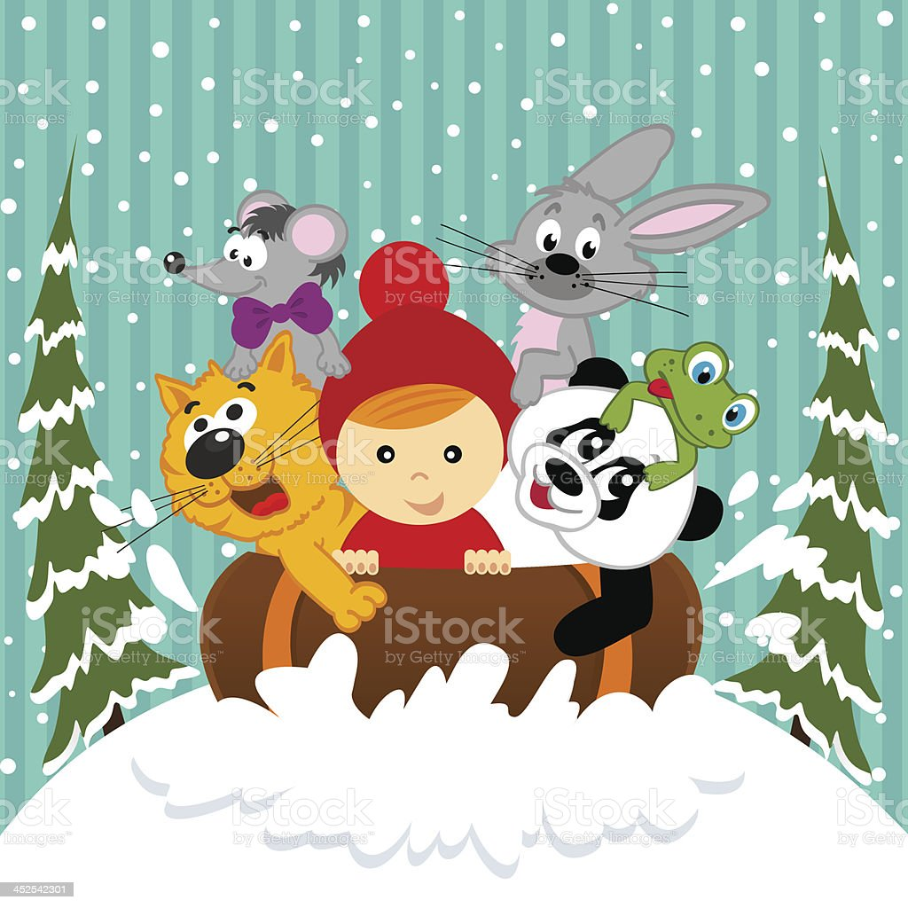 boy and animals together sledging vector art illustration