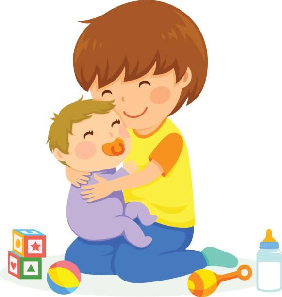 Boy and baby vector art illustration