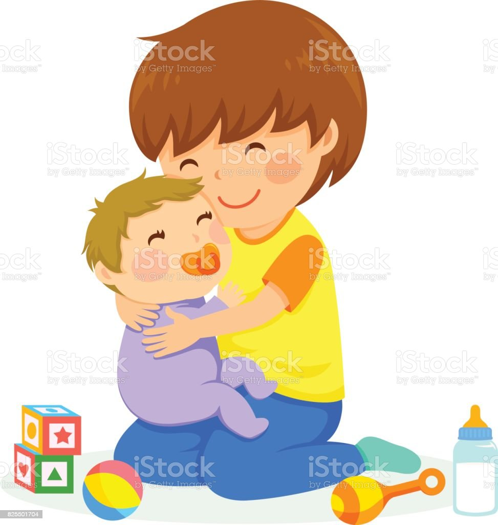 Boy and baby vector art illustration