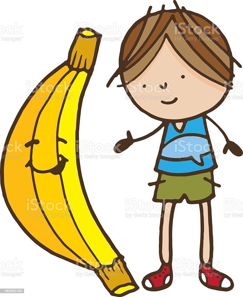 Boy and banana royalty-free stock vector art