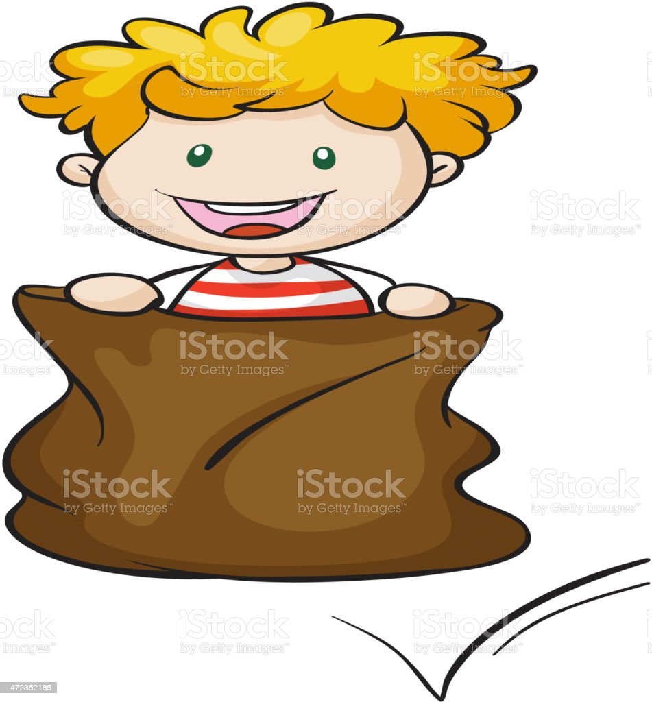 boy and burlap royalty-free stock vector art