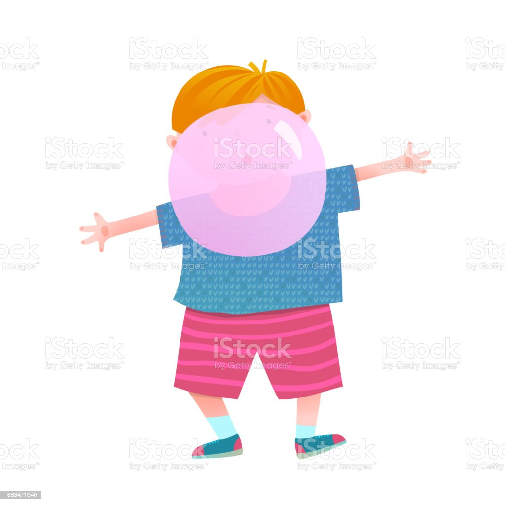 Boy and chewing gum bubble vector art illustration