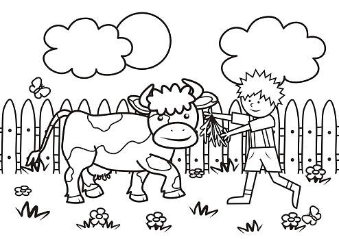 Boy and cow, coloring book, eps.