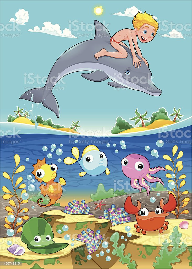 Boy and dolphin with fish under the sea. vector art illustration