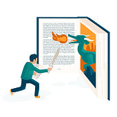 Imagination takes a primary role while reading a book. As some people say, the reader enter the story as a part of it. That is what I attempt to show in this illustration.