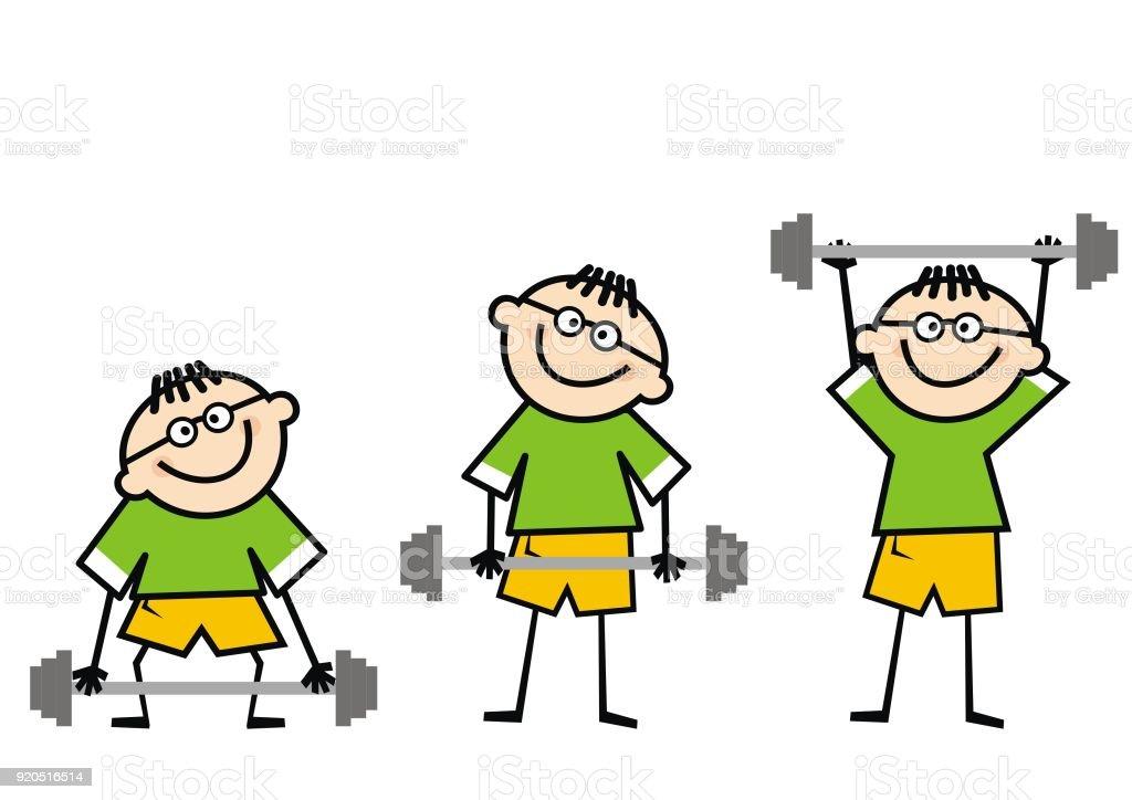 junge und hantel gewichtheben lustige illustration stock