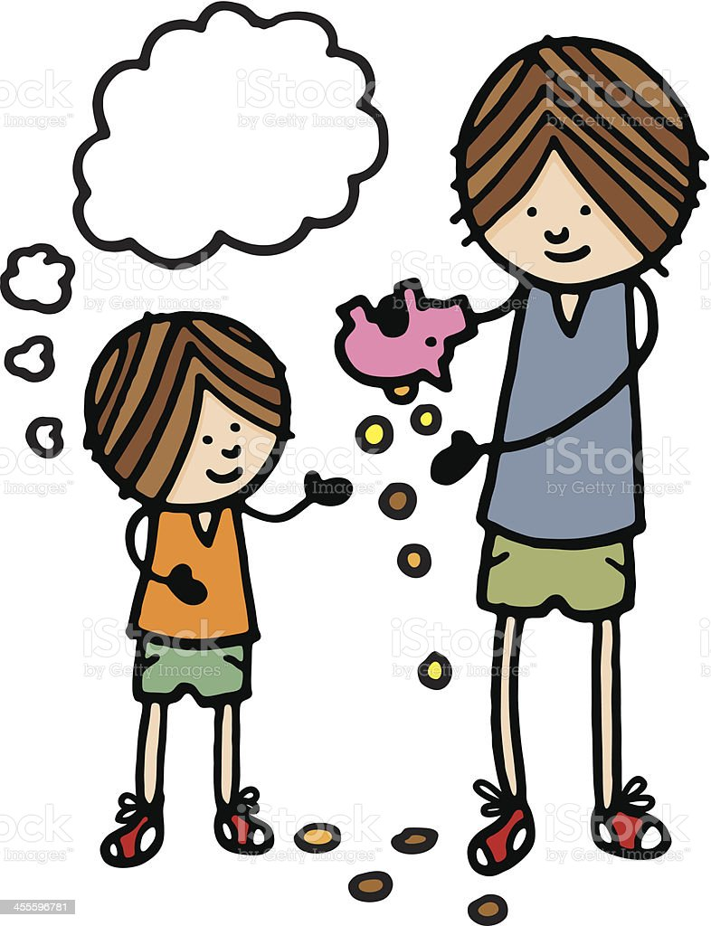 Boy and father emptying piggy bank royalty-free stock vector art
