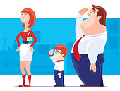 vector illustration of boy and father saluting to mother
