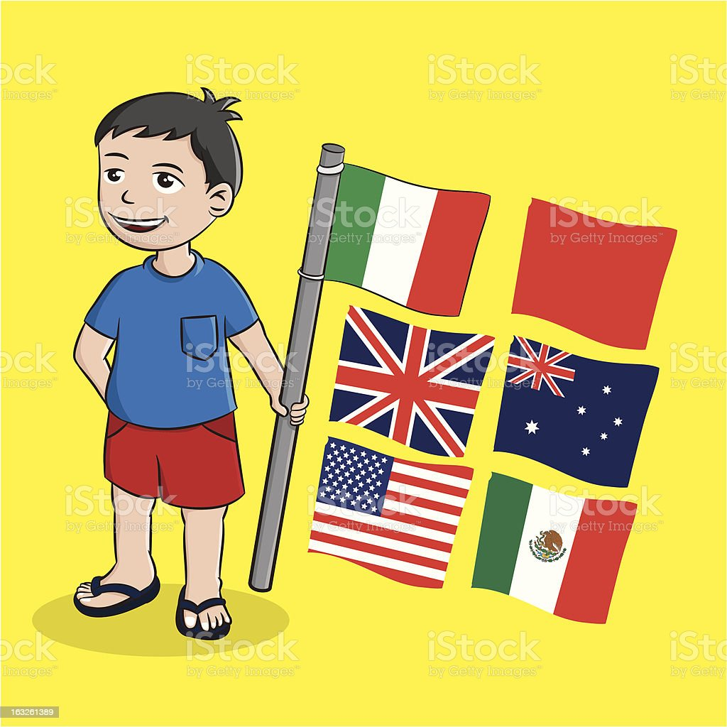 Boy and Flag royalty-free stock vector art