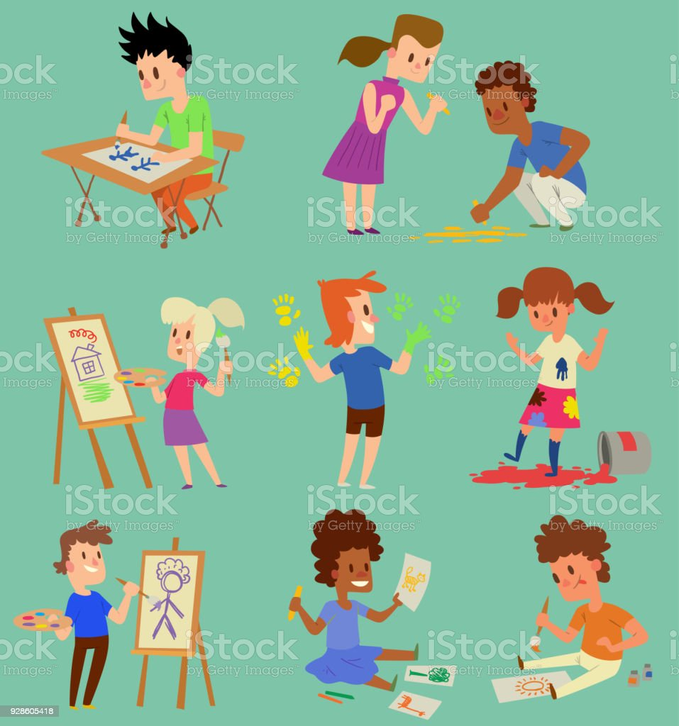 Jungen Und Mädchen Künstler Vektor Kreatives Spielen Spiele Kids ...