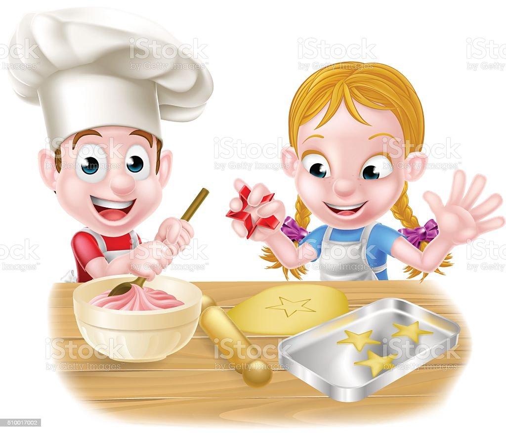 Ilustraci n de ni o y ni a cocinar y m s banco de im genes for Cocinar imagenes animadas