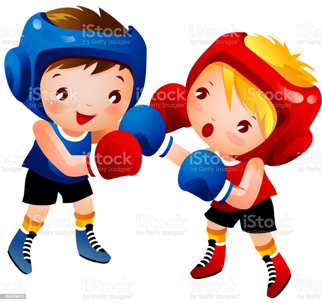 Boy and Girl Boxing royalty-free stock vector art