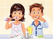 Boy and Girl Brushing Teeth