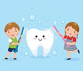 Vector illustration of boy and girl brushing white tooth