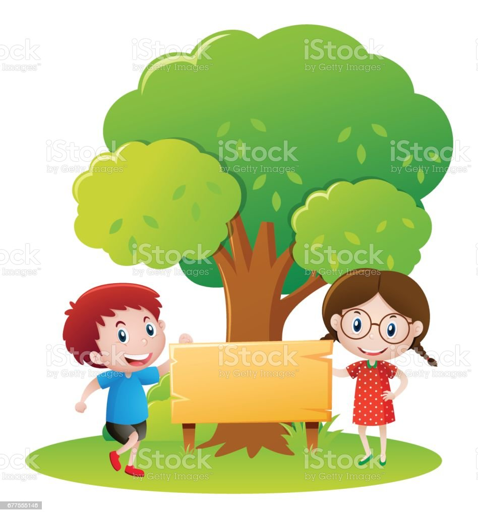 Boy and girl by the wooden sign in garden royalty-free boy and girl by the wooden sign in garden stock vector art & more images of art