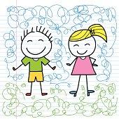 boy and girl cartoon sketch