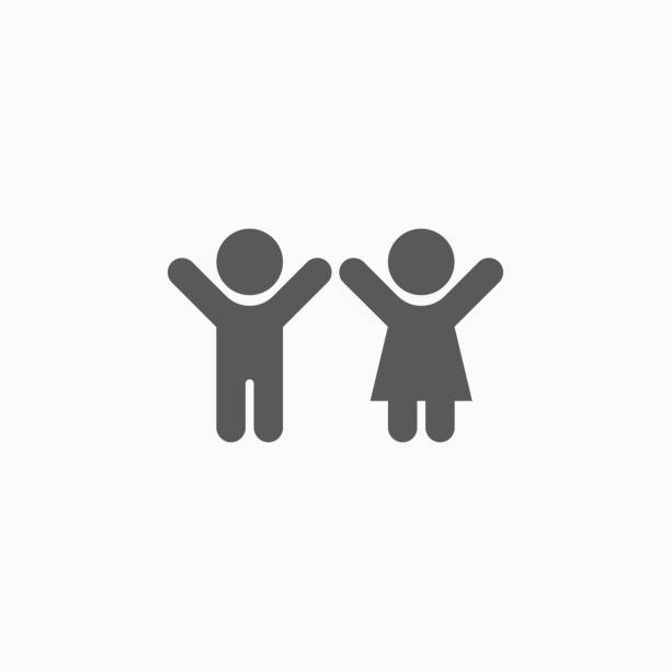 boy and girl, child icon - maluch stock illustrations