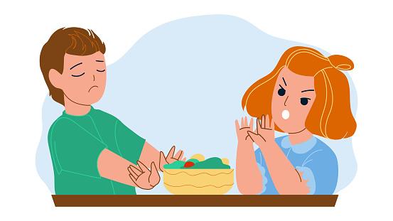 Boy And Girl Children Refusing Healthy Food Vector