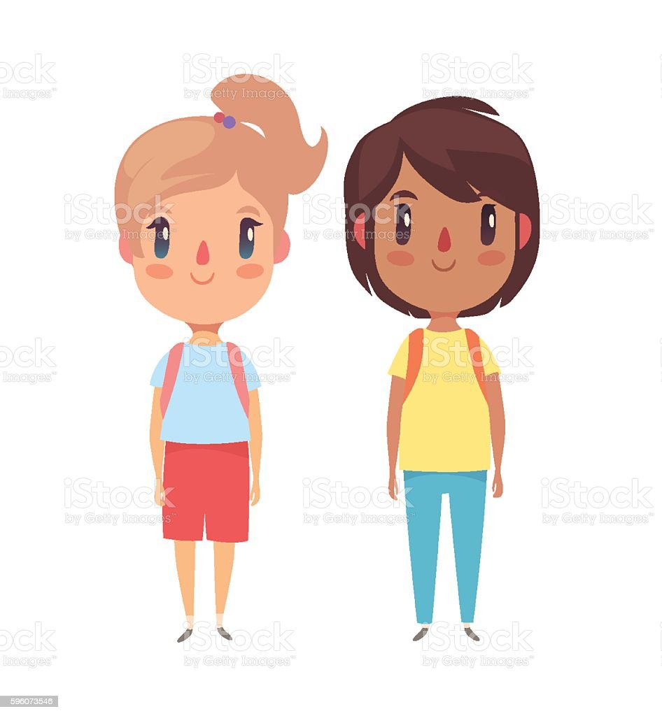 Boy and girl children royalty-free boy and girl children stock vector art & more images of backpack