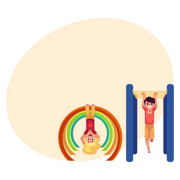 boy and girl climbing, hanging on monkey bars at playground - monkey bars stock illustrations, clip art, cartoons, & icons