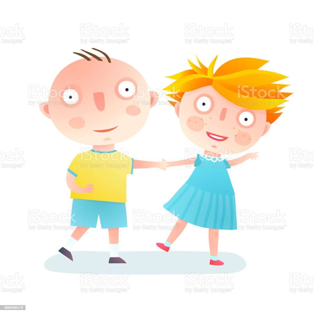 Boy and Girl Dancing Friends vector art illustration