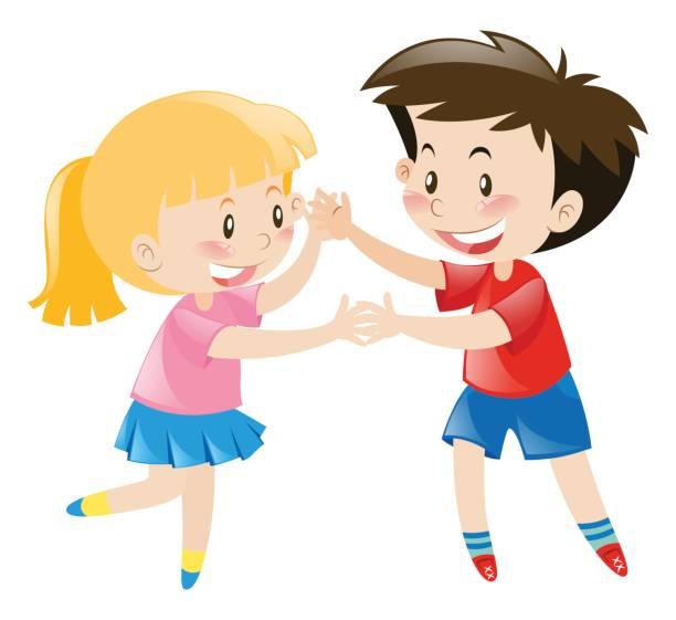 ilustrações, clipart, desenhos animados e ícones de menino e menina dançando juntos - irmã