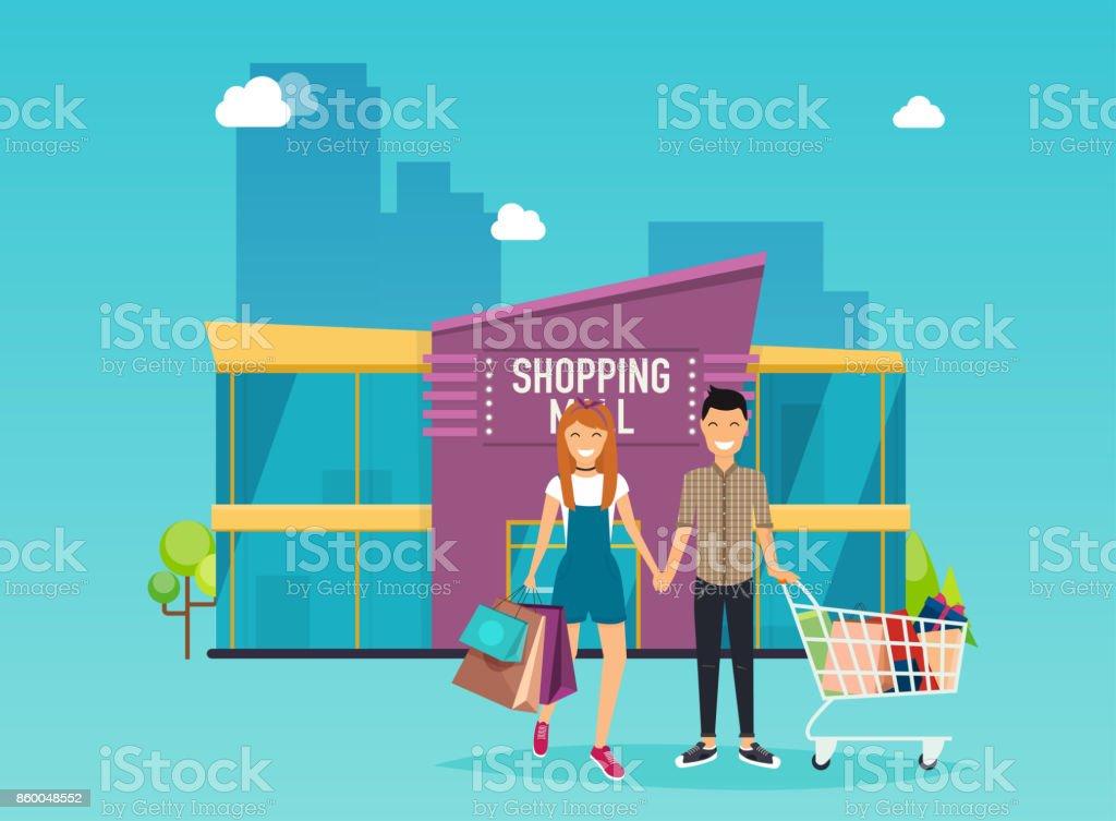 Boy and girl do shopping. Shopping mall building exterior. Flat design style modern vector illustration concept.