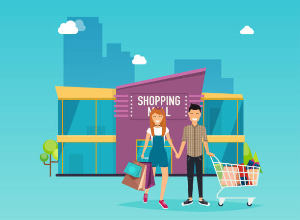 ilustrações, clipart, desenhos animados e ícones de menino e menina fazem compras. exterior do edifício de shopping center. conceito de ilustração vetorial moderna estilo design plano. - shopping