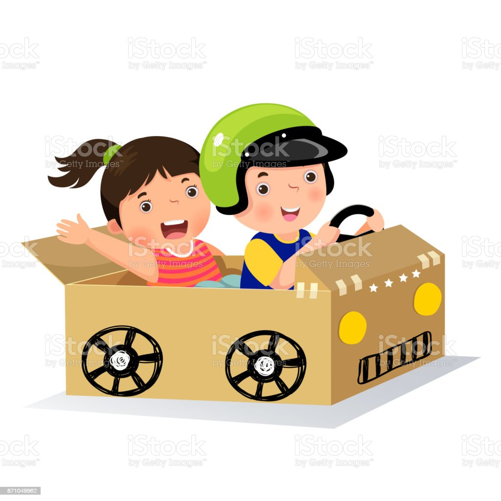 Boy and girl driving with cardboard car vector art illustration