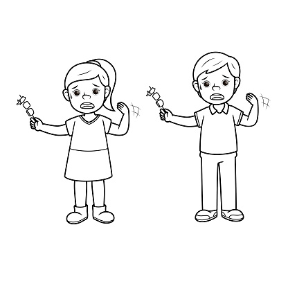 Boy and girl eating hot chilly pepper. For human emotion or face expression concepts. Only black and white for the coloring page.Used to compose teaching materials in a set that expresses emotions.