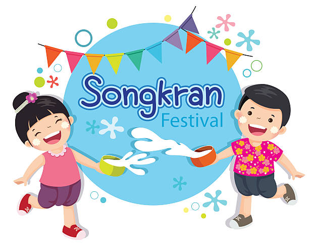 boy and girl enjoy splashing water in songkran festival thailand. - songkran festival stock illustrations, clip art, cartoons, & icons