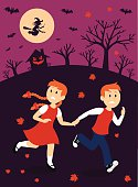 Boy and Girl Escape From A Witch House Clipart