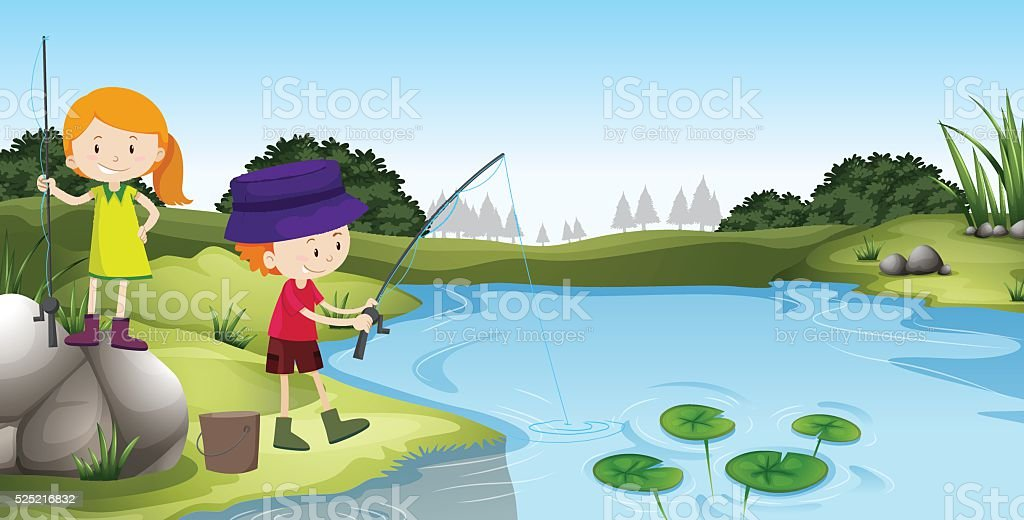 Boy and girl fishing at the river vector art illustration