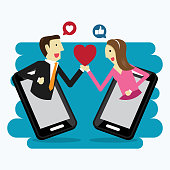 Boy and girl follow up social media, Vector illustration in flat style