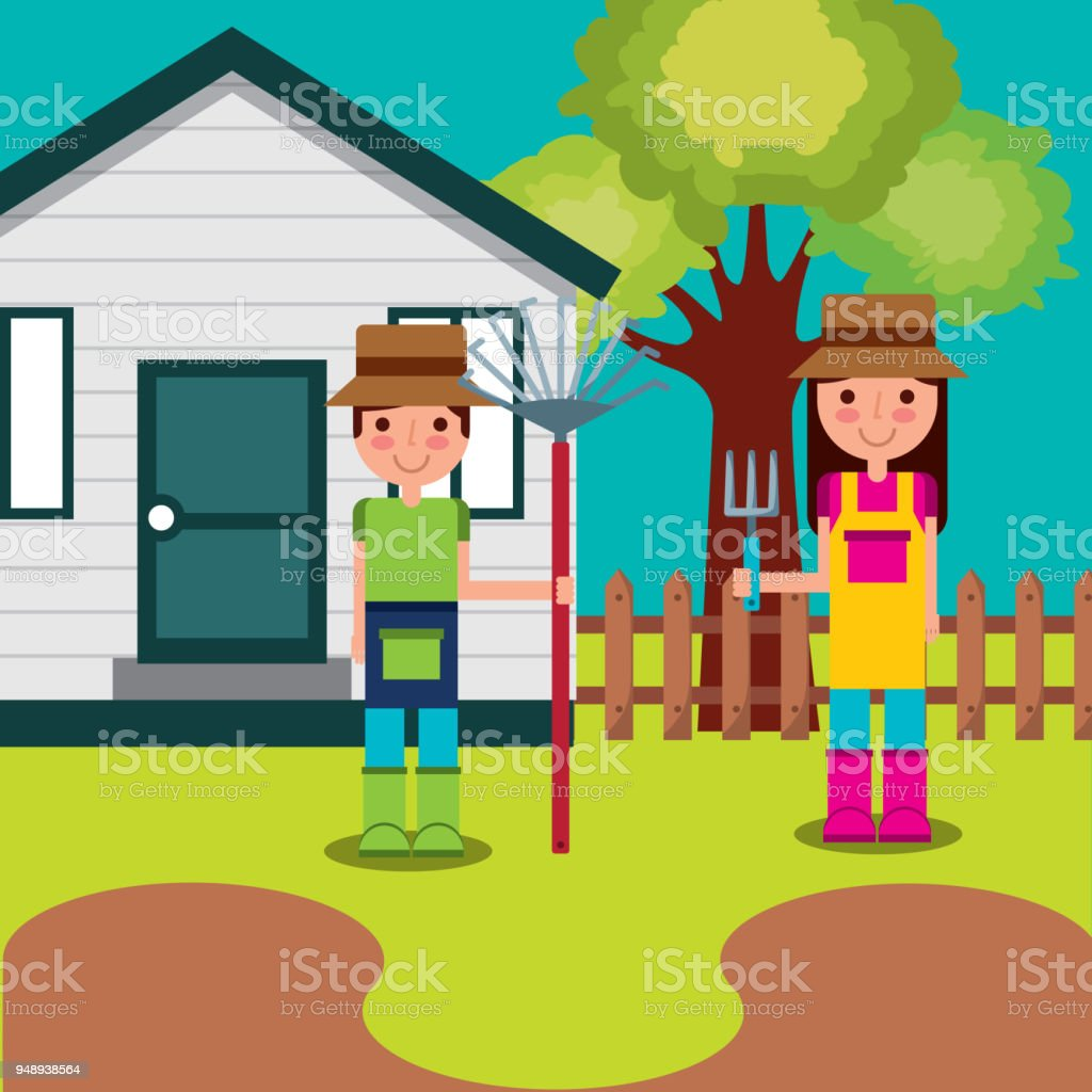 boy and girl gardeners vector art illustration