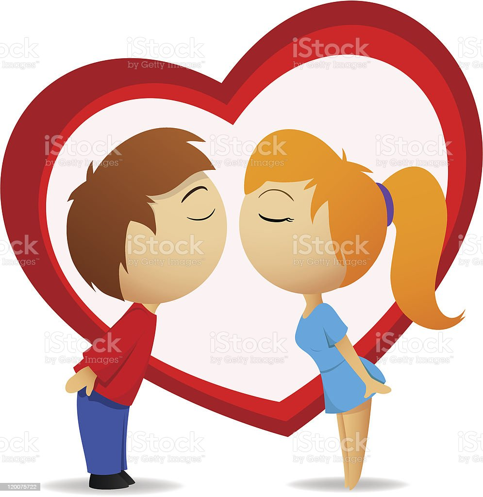Boy and girl going to kiss with heart shape royalty-free stock vector art