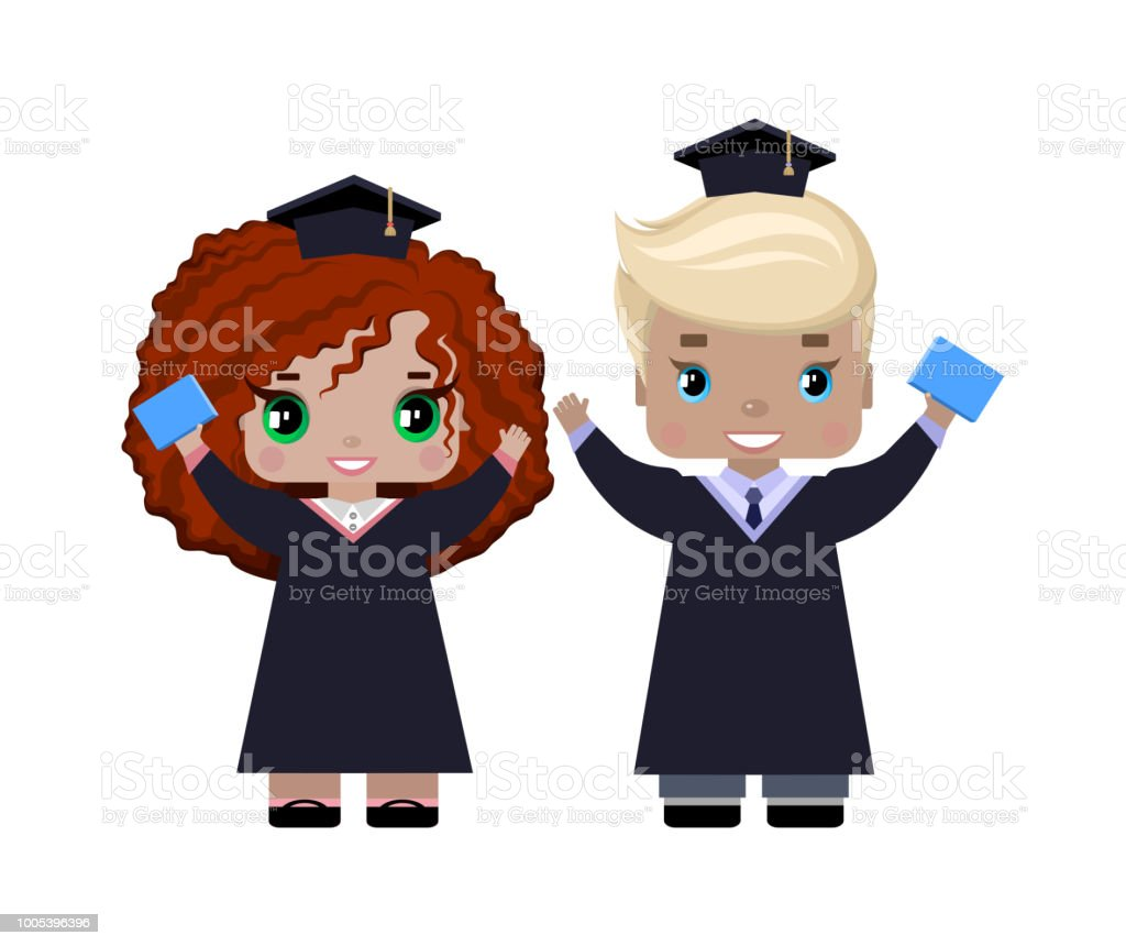Boy And Girl Graduates Happy In Graduation Caps And Gowns Stock ...