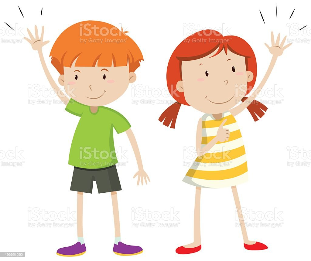 Boy and girl having their hands up vector art illustration